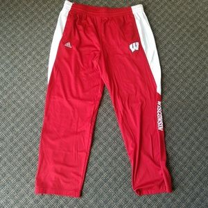 Adidas Wisconsin Badger Climalite Pants XL Red